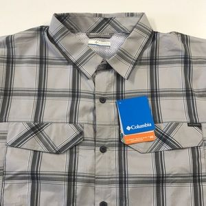 🆕 COLUMBIA Mens Large Gray S/S Vented Shirt
